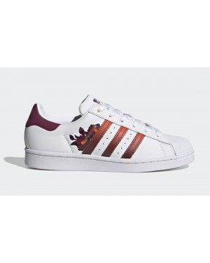 adidas Superstar Blancas/Power Berry-Doradas Metálico FW2527
