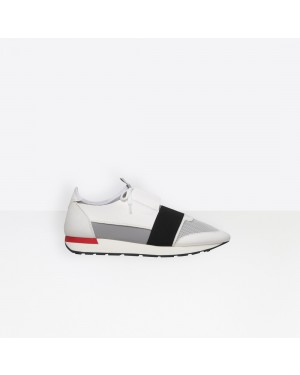 Balenciaga Hombre Race Runners Materiales Contrasted Runners Grises 506328W0YXS9057