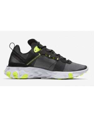 Nike React Element 55 Negras Grises Amarillas - BQ6166-001
