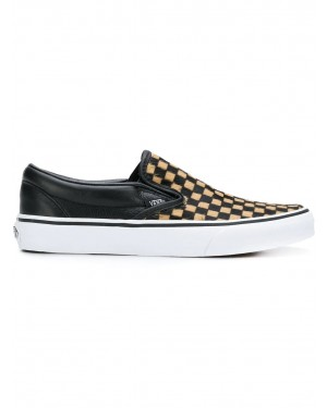 Calf Hair Checkerboard Classic Slip-On Zapatillas | Negras | Vans VA38F7U76