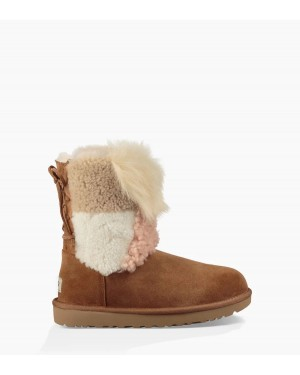 Mujer Classic Short Patchwork Fluff Boot Marrónes 1098071